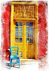 - Antik Kapı ve Sandalye Kanvas Tablo