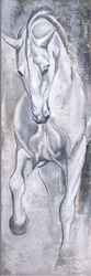 - Beyaz At Kabartmalı Tablo