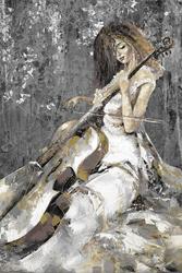 - Beyaz Elbiseli Çellist Kabartmalı Tablo