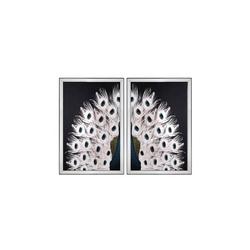 - Beyaz Tavus Kuşu İkili Set Tablo 95x130cm