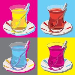 - Çay Bardakları Kanvas Tablo