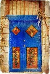 - Çiçek Desenli Mavi Kapı Kanvas Tablo