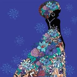 - Çiçek Etekli Afrikalı Kadın Kanvas Tablo