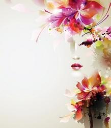 - Çiçek Saçlı Kadın Çizim Kanvas Tablo