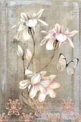 - Çiçek Ve Kelebek Kanvas Tablo