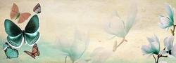 - Çiçekler ve Kelebekler Kanvas Tablo