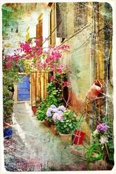- Çiçekli Sokak Kartpostal Kanvas Tablo