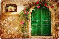 - Çiçekli Yeşil Kapı Kanvas Tablo