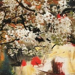 - Dalda Beyaz Çiçekler Kanvas Tablo