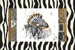 - Desenli Zemin Zebra Kanvas Tablo