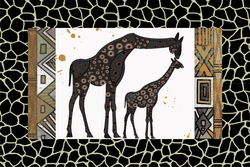 - Desenli Zemin Zürafalar Kanvas Tablo