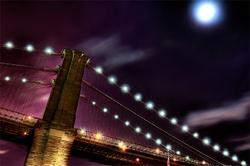 - Dolunayda Köprü Kanvas Tablo