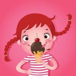 - Dondurma ve Çocuk Kanvas Tablo