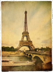 - Eyfel Kartpostal Kanvas Tablo
