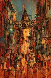 - Galata Kulesi Çizim Kabartmalı Tablo