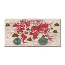 - Gemi Rotalı Dünya Haritası Kanvas Tablo