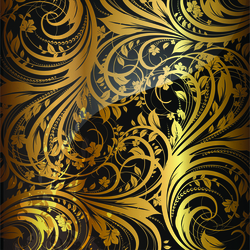 - Gold Yapraklar Kanvas Tablo