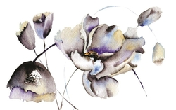 - Gri Çiçekler Kanvas Tablo