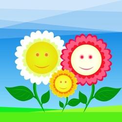 - Gülümseyen Çiçekler Kanvas Tablo