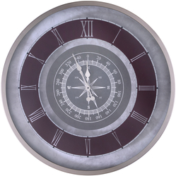 - Gümüş Pusula Desenli Saat çap 80cm