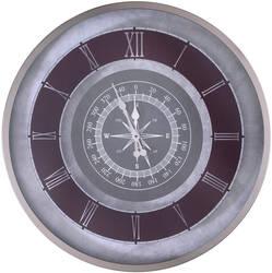 Gümüş Pusula Desenli Saat çap 80cm