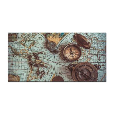 Harita Üstünde Pusulalar Kanvas Tablo