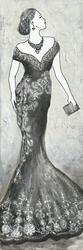 - İşlemeli Elbiseli Kadın Siyah Beyaz Kabartmalı Tablo
