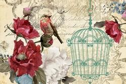 - Kafes, Kuş ve Çiçekler 3 Kanvas Tablo