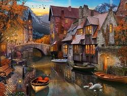 - Kanal Kıyısında Taş Evler Kabartmalı Tablo