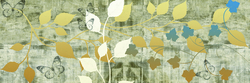 - Kelebek ve Yapraklar Kanvas Tablo