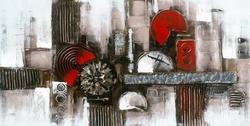 - Kırmızı Çember Detaylı Soyut Kabartma Tablo