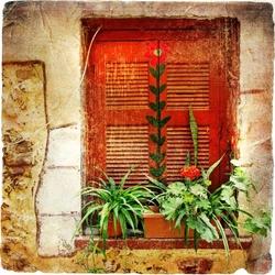 - Kırmızı Dal Desenli Kapı Kanvas Tablo