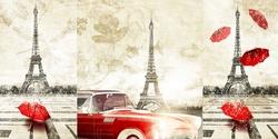 - Kırmızı Detaylar Ardında Eiffel Kanvas Tablo