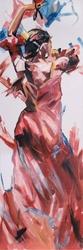 - Kırmızı Elbiseli Dansçı Kabartmalı Tablo