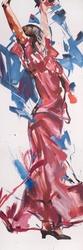- Kırmızı Elbiseli Kadın Kabartmalı Tablo