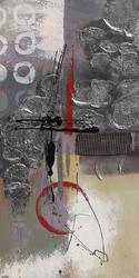 - Kırmızı- Gümüş Detaylı Modern Soyut 2 Kabartma Tablo
