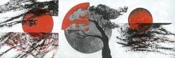 - Kırmızı Güneş ve Ağaç Kabartmalı Tablo