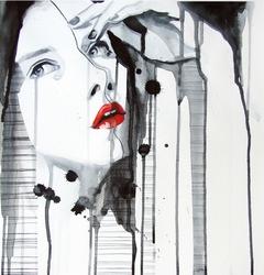 - Kırmızı Rujlu Minimal Kadın Çizim 3 Kanvas Tablo