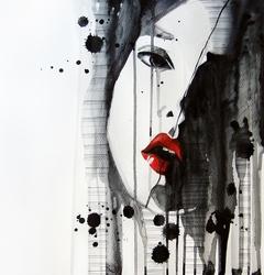 - Kırmızı Rujlu Minimal Kadın Çizim 4 Kanvas Tablo