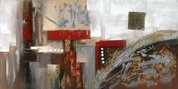 - Kırmızı Şerit Detaylı Soyut Kabartma Tablo