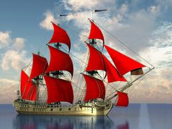 - Kırmızı Yelkenli Gemi Kanvas Tablo