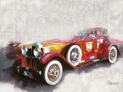 - Klasik Kırmızı Araba Kabartmalı Tablo
