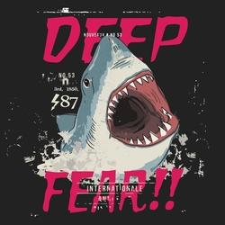 - Köpekbalığı Derin Korku Kanvas Tablo