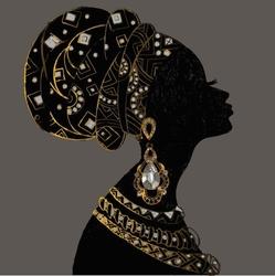 - Küpeli Afrikalı Kadın Kanvas Tablo