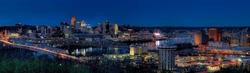 - Mavi Akşamüstünde Şehir Kanvas Tablo