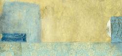 - Mavi-Altın Soyut Kanvas Tablo