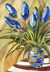 - Mavi Çiçek Kanvas Tablo