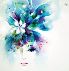 - Mavi Çiçek Saçlı Kadın Çizim Kanvas Tablo