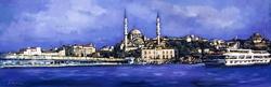 - Mavi İstanbul Çizim Kanvas Tablo