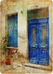 - Mavi Kapılı Ev Kanvas Tablo -4
